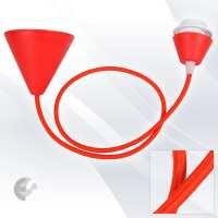 07110102RE - Pendul CONE PVC cu cablu textil rosu si fasung cu ring E27